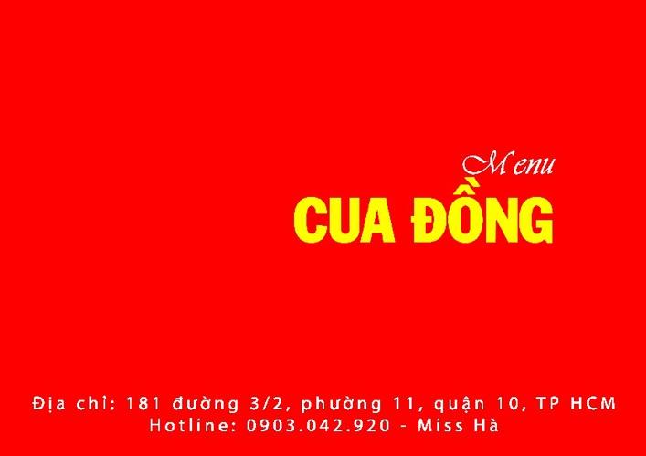 Menu Quán Cua Đồng