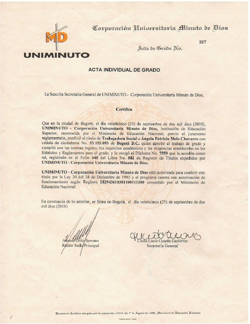 Certificaciones,Constancias y Diplomas de Estudios Angela Melo