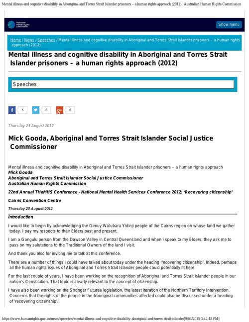 Mental illness and cognitive disability in Aboriginal and Torres
