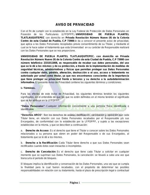 AVISO DE PRIVACIDAD UNIVERSIDAD DE PUEBLA PLANTEL TLATLAUQUITEPE