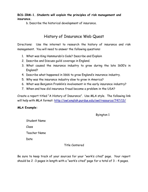 Insurance Projects - Instructions and Student Work