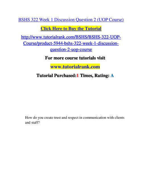BSHS 322 Course Success Begins / tutorialrank.com