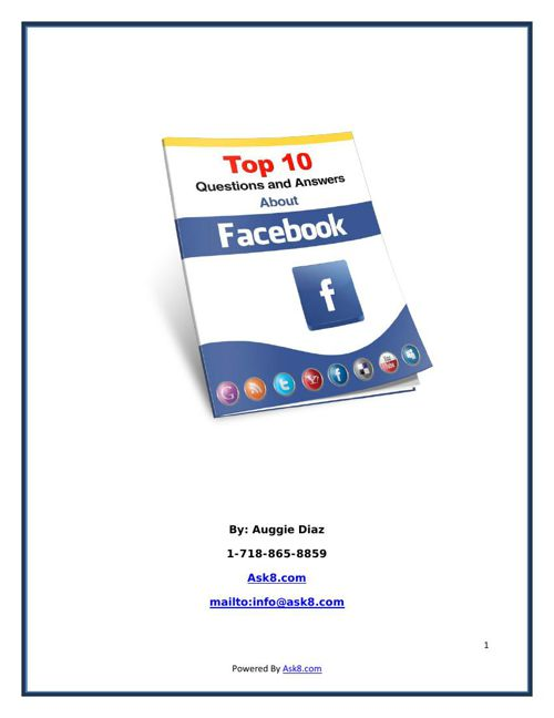 Top 10 Facebook QandA Report by ask8