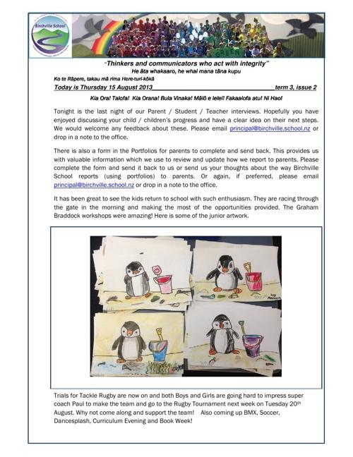 Newsletter - Week 3 - 15 August 2013
