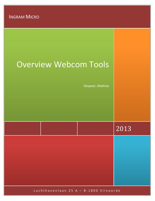 Overview Webcom tools Ingram Micro by Mathias Despeer