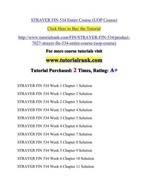FIN 534 Potential Instructors / tutorialrank.com