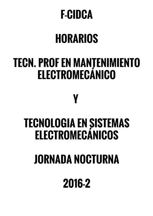 HORARIOS DE ELECTROMECÁNICA NOCTURNA