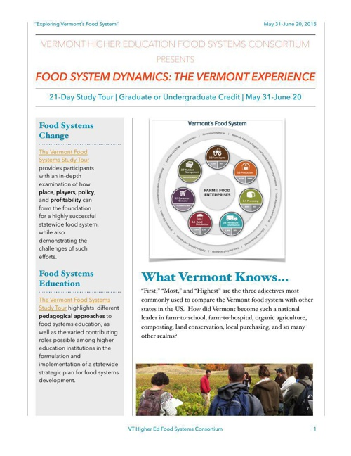 VT Food Systems Study Tour: VT Higher Ed Food Systems Consortium