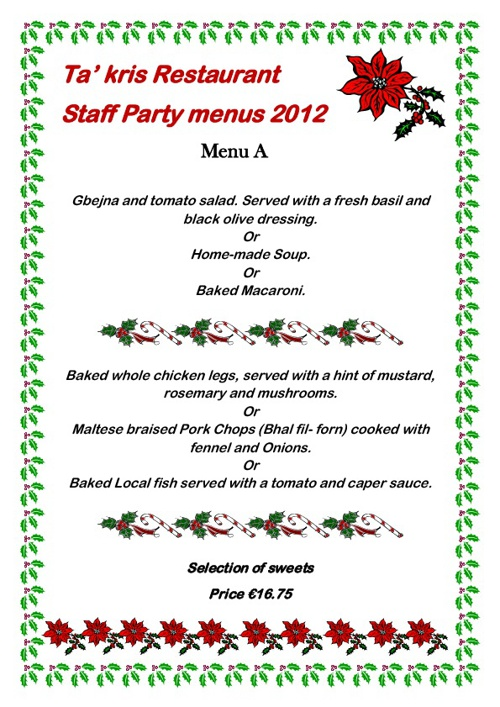 Staff Party Menus 2012