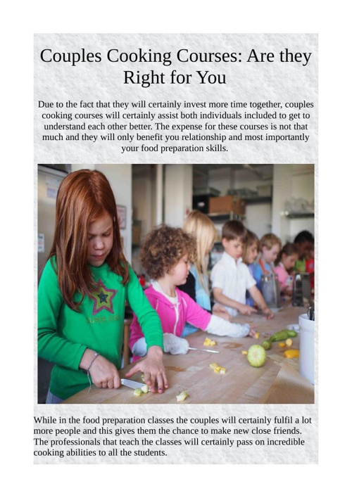 Couples Cooking Courses: Are they Right for You