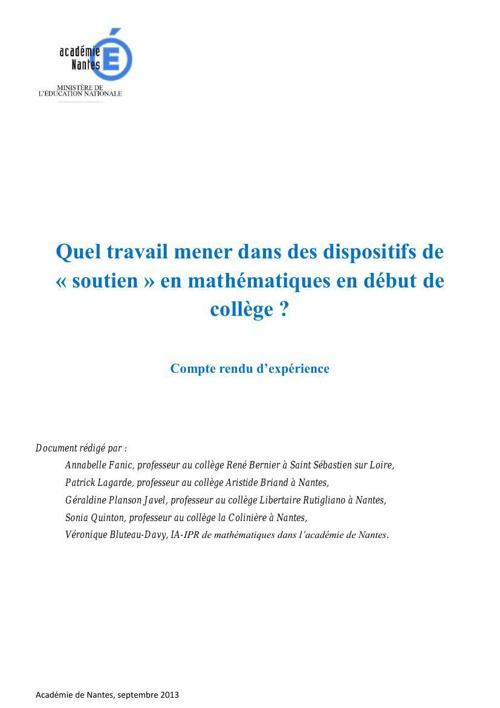 CR soutien en maths