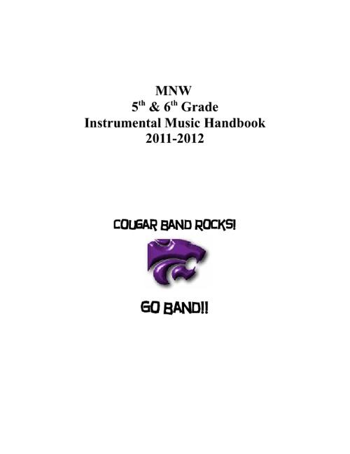 MNW 5th & 6th Grade Band Handbook