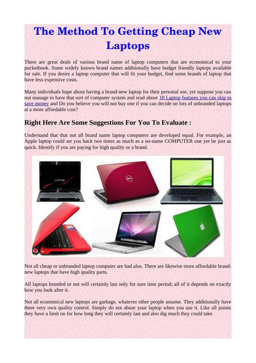 The Method To Getting Cheap New Laptops