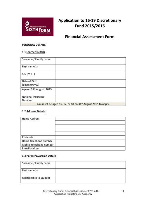 AHS 16-19 Discretionary Fund - Financial Assessment 15