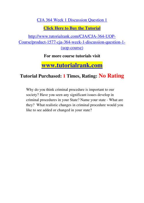 CJA 364 Course Success Begins / tutorialrank.com