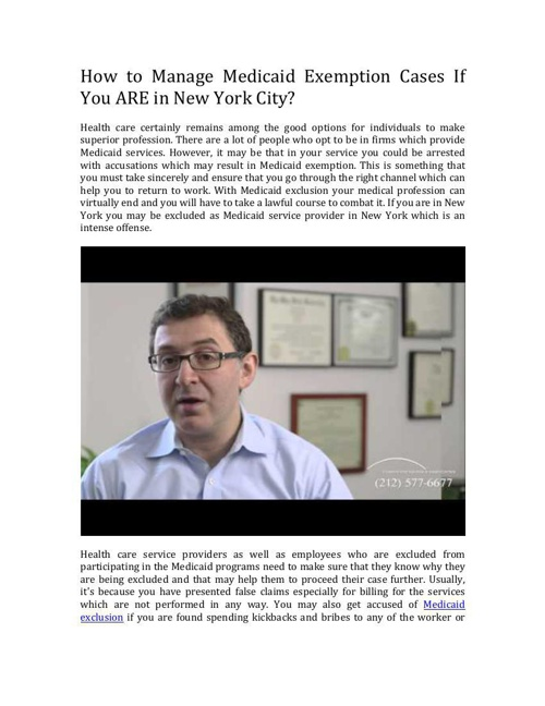 Excluded As Medicaid Provider In New York