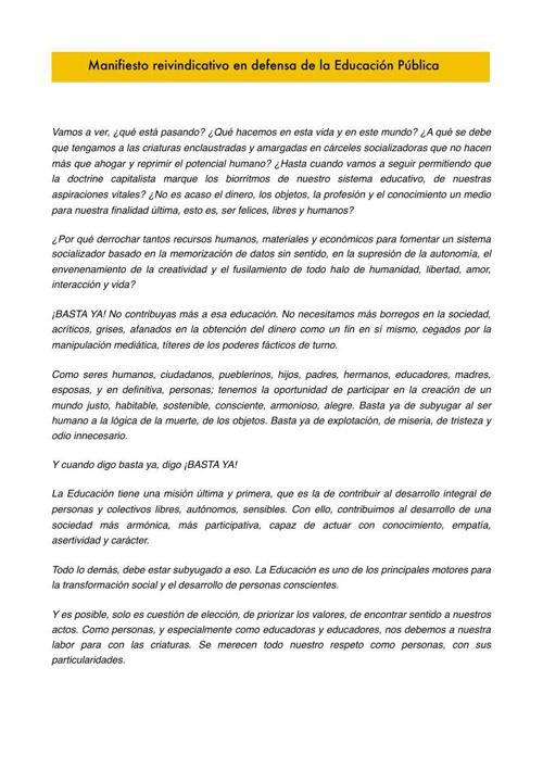 Manifiesto en defensa de la Educación Pública (Conflicto de co