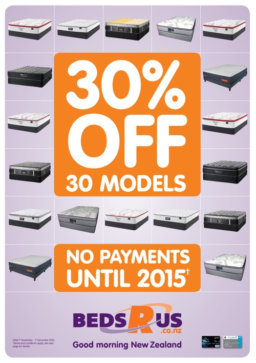 Beds R Us - 30% Off 30 Models - November 2013