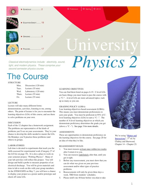University Physics II Syllabus