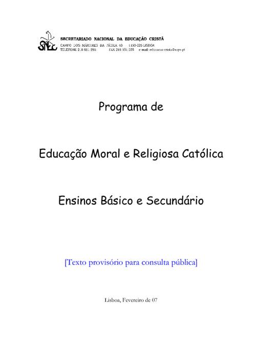 Programa de Educação Moral e Religiosa Católica