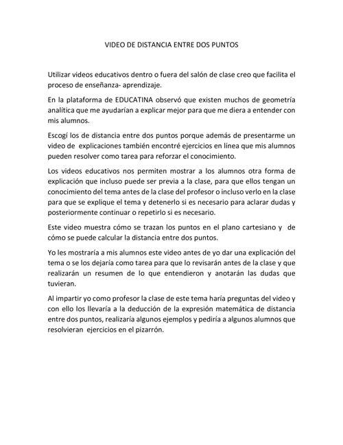 VIDEO DE DISTANCIA ENTRE DOS PUNTOS