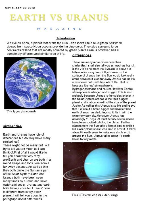 Uranus and Earh