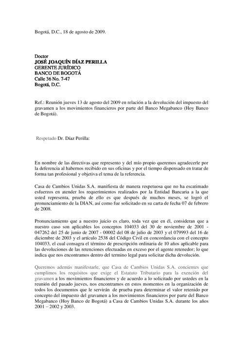 Carta Banco de Bogota. Dr. Diaz Perilla. 18 de agosto de 2009 (1