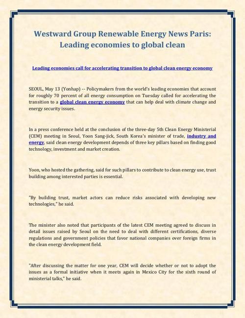 Westward Group Renewable Energy News: Leading economies to globa