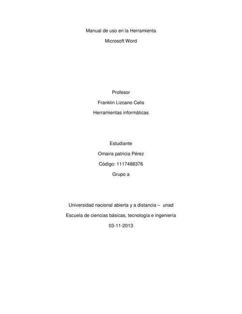 Manual de uso en la Herramienta Microsoft Word