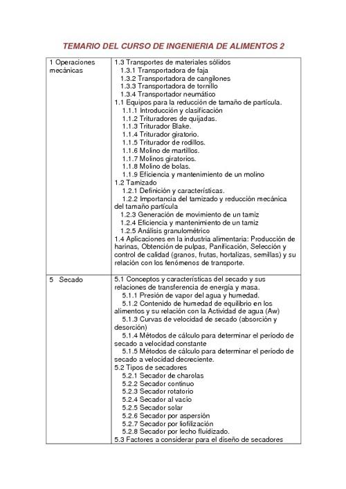 TEMARIO DE INGENIERIA DE ALIMENTOS 2