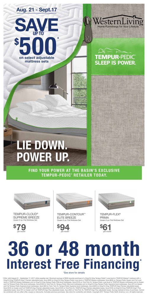 Western Living Labor Day Tempur-Pedic and Beautyrest Sale