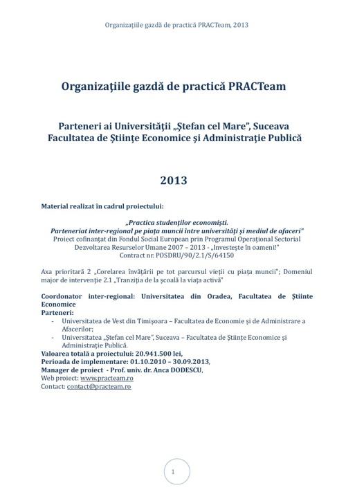 PRACTeam - Volum prezentare Organizaţii gazdă Suceava, 2013