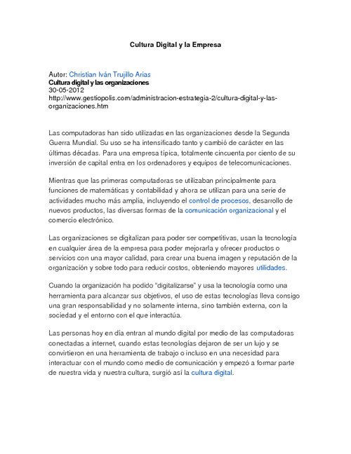 CULTURA DIGITAL Y LA EMPRESA
