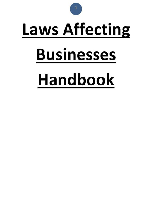 Laws Affecting Businesses Handbook