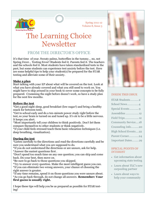 TLC Spring 2012 Newsletter