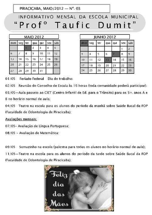 Informativo Mensal - Maio 2012
