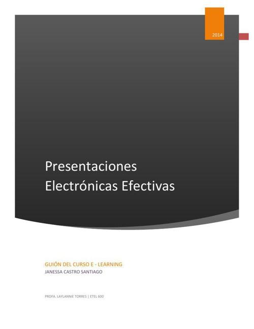 Guión del curso E-learing Presentaciones Electrónicas Efectivas