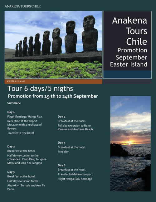 Easter Island 6 days 5 nights - promotion  two pax