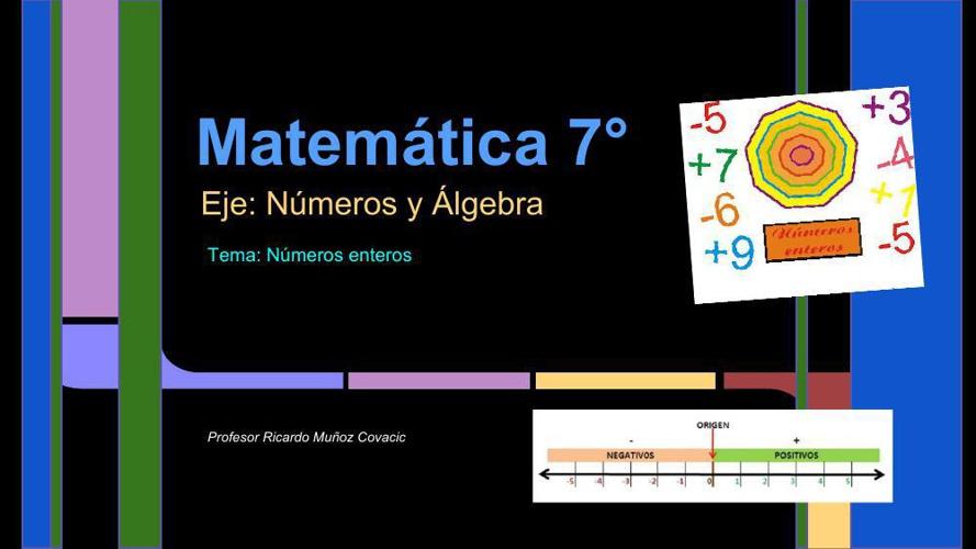 Presentación Matemática, 7°, Números y Álgebra, Prof. Ricardo Mu