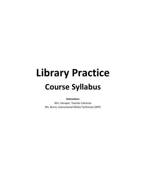 Library Practice Course Syllabus
