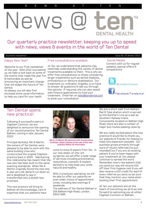 Ten Dental Winter Newsletter 2012/13