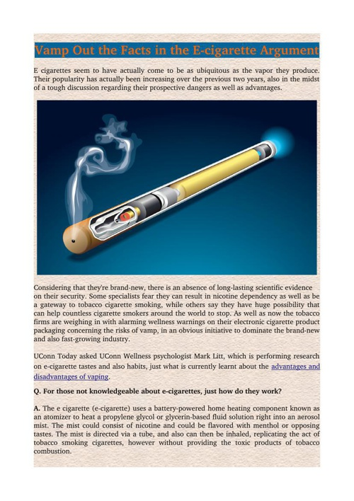 Vamp Out the Facts in the E-cigarette Argument