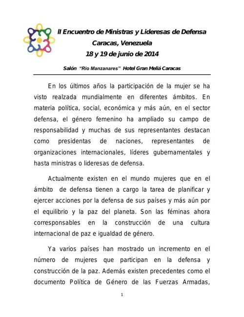 Propuesta programa Segundo Encuentro de Ministras y Lideresas de