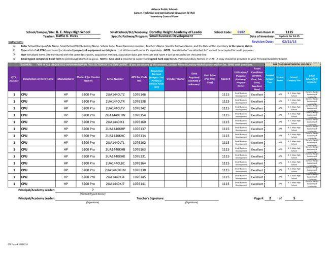 Standard 5 Mays CTAE Inventory DKHicks Rm-1115 Feb 21 2015