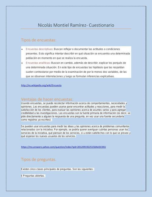 Nicolás Montiel Ramírez cuestionario