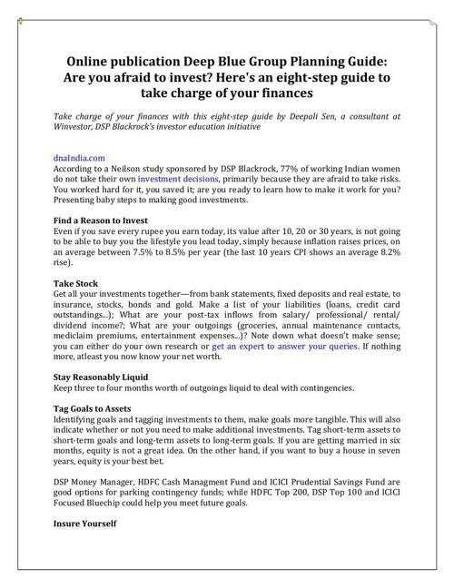 Online publication Deep Blue Group Planning Guide