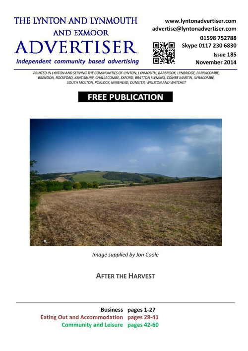 Lynton & Lynmouth Advertiser - November 2014