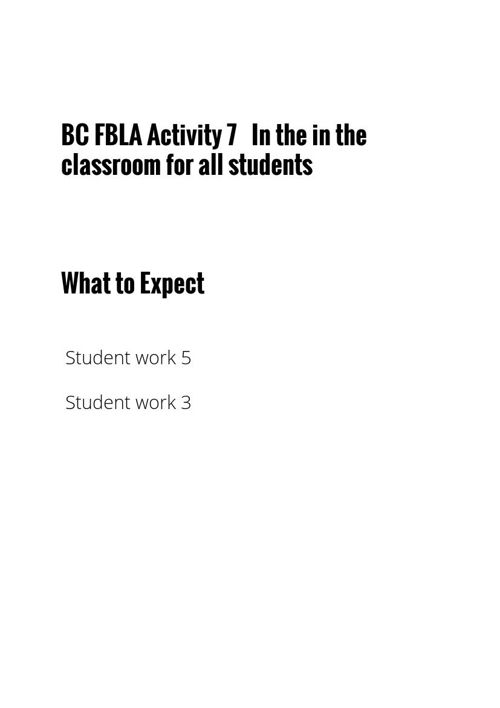 BC FBLA ACTIVITY 7  FOR ALL STUDENTS IN THE CLASSROOM -