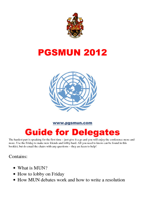 Copy of PGSMUN Conference Guide 2012