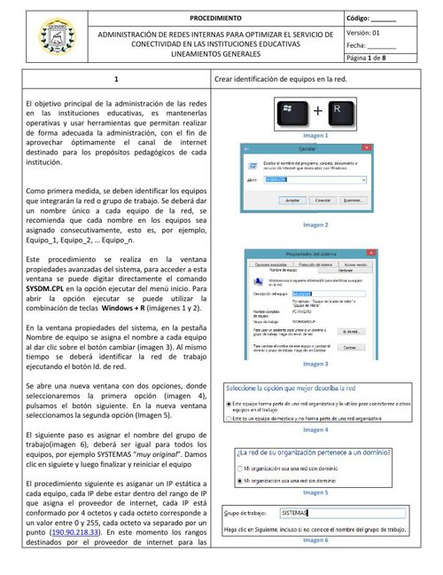 Lineamientos generales Administración de redes internas IE